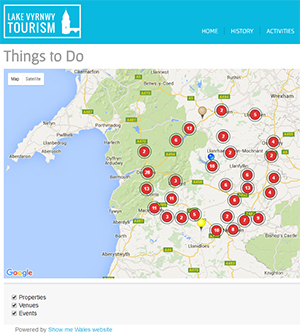 Dynamic Widgets on Lake Vyrnwy Tourism website