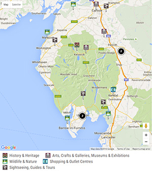 Google Mapping with customised pins on www.golakes.co.uk