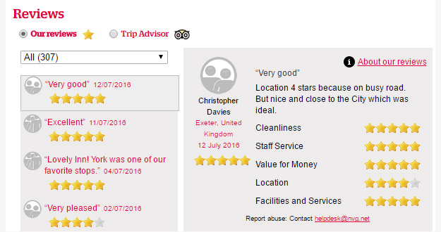 Example of Guestlink and TripAdvisor reviews on www.visityork.org